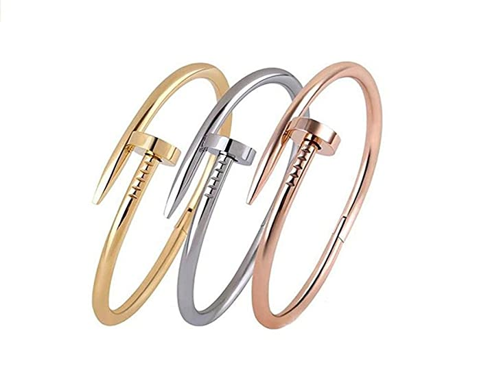 BazaarE Stainless Steel Bracelet Silver/Rose/Yellow/ Women Jewelry Nail Screw Cuff Bangle