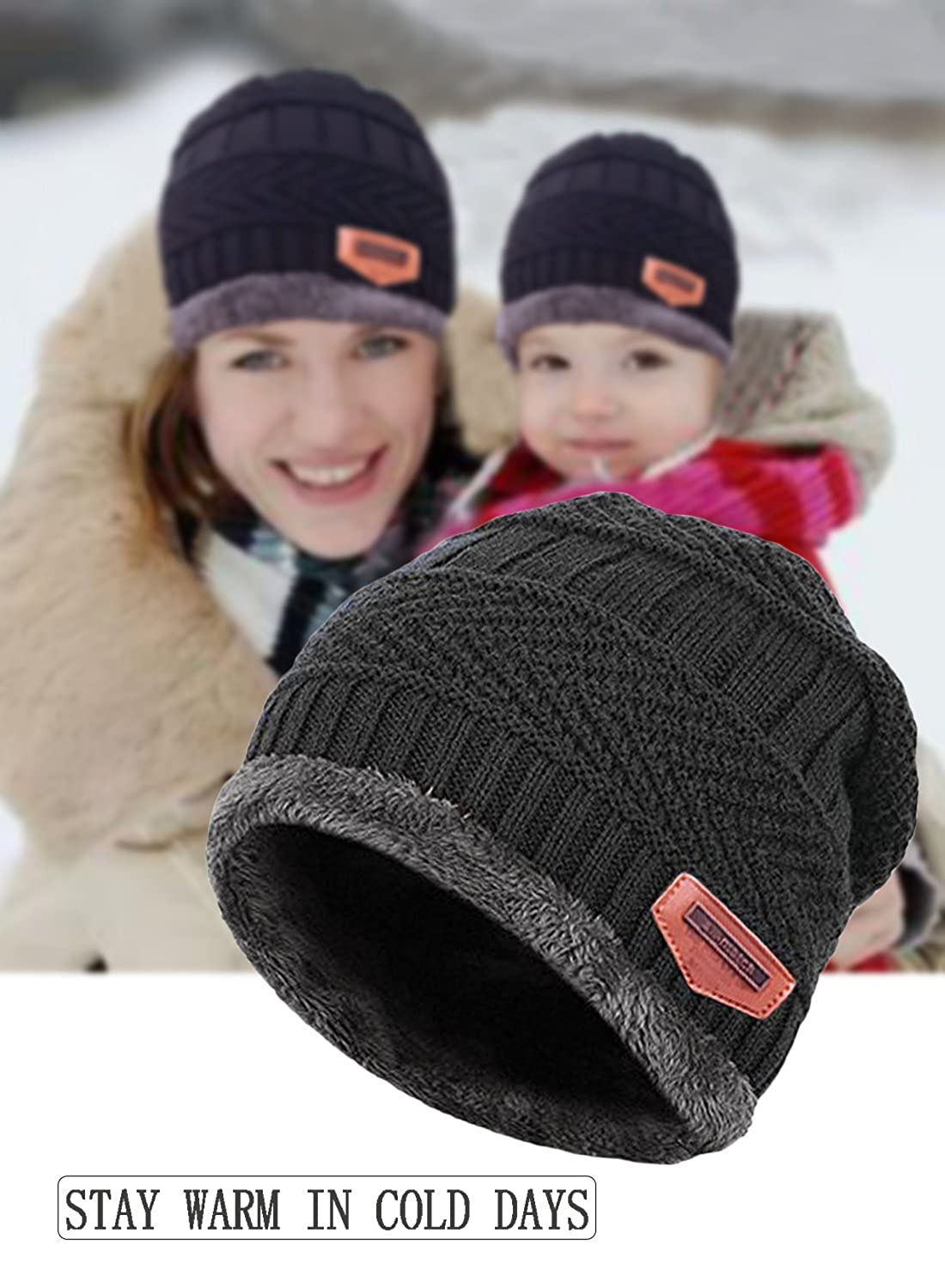 6f959c83ebe06 Amazon.com  T-wilker 2 Pcs Kids Winter Knitted Hats + Scarf Set Soft  Stretch Cable Warm Fleece lining Cap for 5-14 Year Old Boys Girls (Black)   Clothing