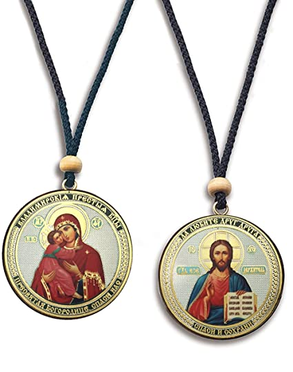 Amazon.com  2 Sided Russian Icon Car Pendant Our Lady Of Vladimir ... e513ca86d8050
