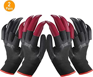 Garden Gloves with Claws for Left and Right Hand, Home Gardening Genie Gloves for Women and men to Dig and Plant Nursery 2 Pairs