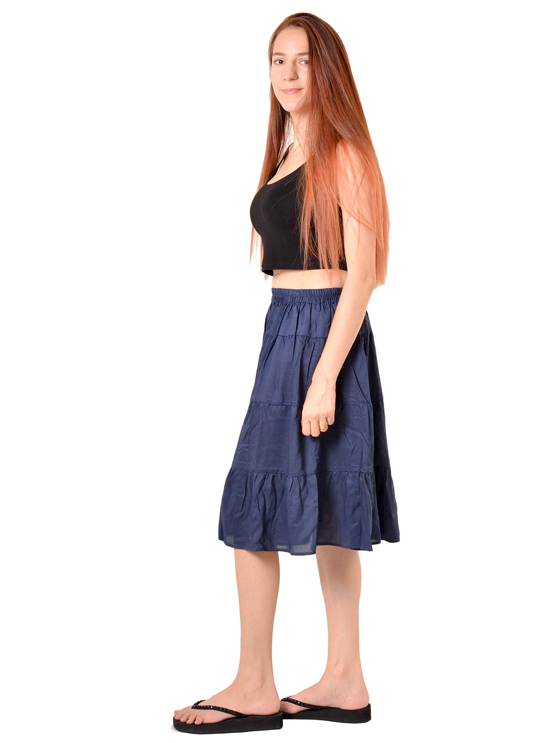 Orient Trail Women's Hippie Bohemian Boho Knee Length Skirt Medium Dark Blue by Orient Trail (Image #4)