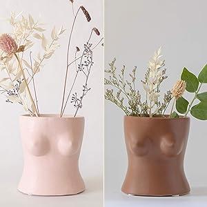 Boob Planter Body Vase Bust Pot Female Form Flower Vases w/ Drainage Plug, Feminist Lady Women Cute Chic Ceramic Planter Modern Boho Home Decor Small Minimalist Accent Piece