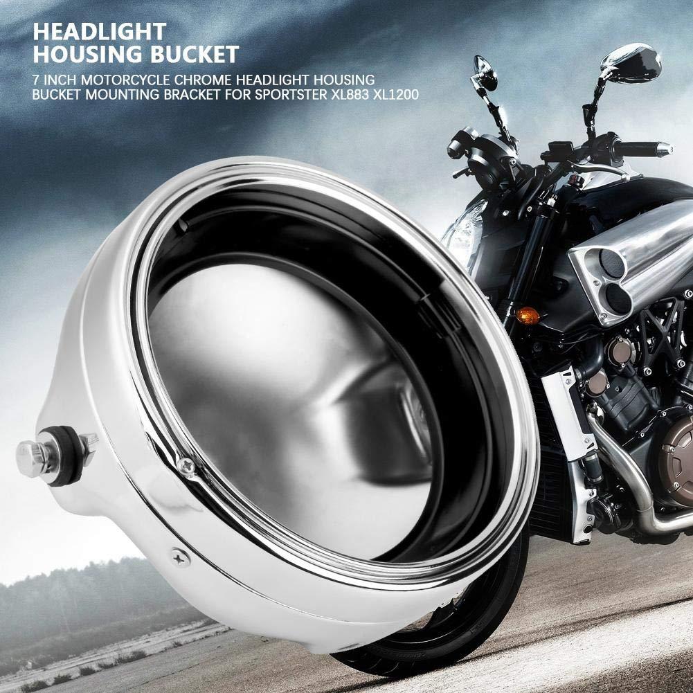 Chrom) KIMISS 7 Zoll Motorrad Scheinwerfer Geh/äuse Eimer Runde LED Scheinwerfer Geh/äuse Eimer Montage f/ür XL883 XL1200