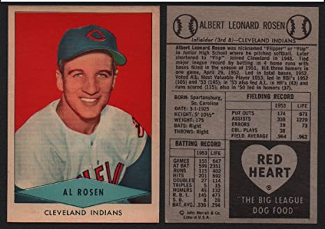 1954 Red Heart Dog Food Regular Baseball Card 25 Al Rosen