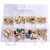 Accessbuy 200-Pack Heavy Duty Golden Frame Hanger Picture Hangers with Nails Cup Hooks Assortment Kit (Holds 10-100 lbs))
