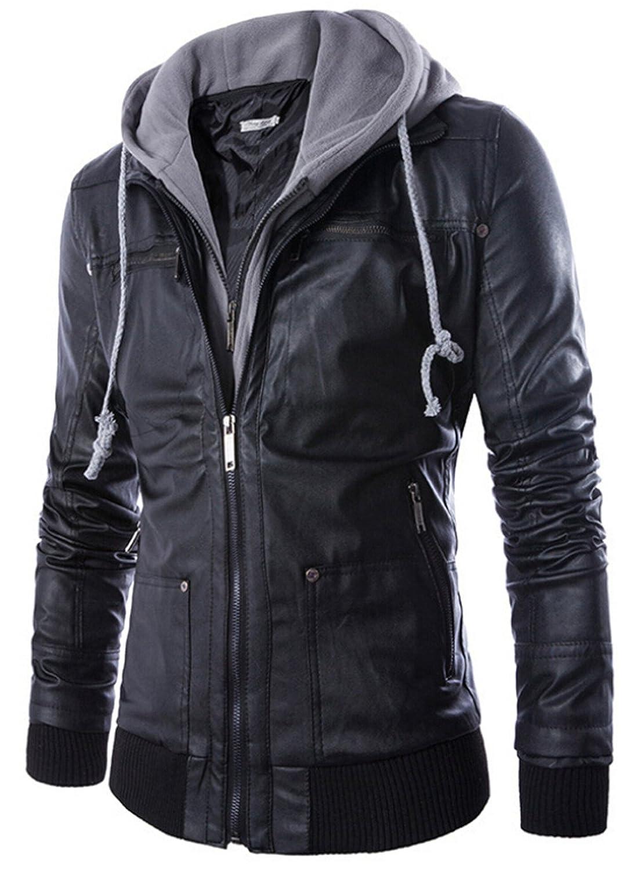 Leather jacket cost - Szyysd Men S Boutique Hooded Leather Jacket Rock Punk Jackets Coat Biker Jacket Low Cost