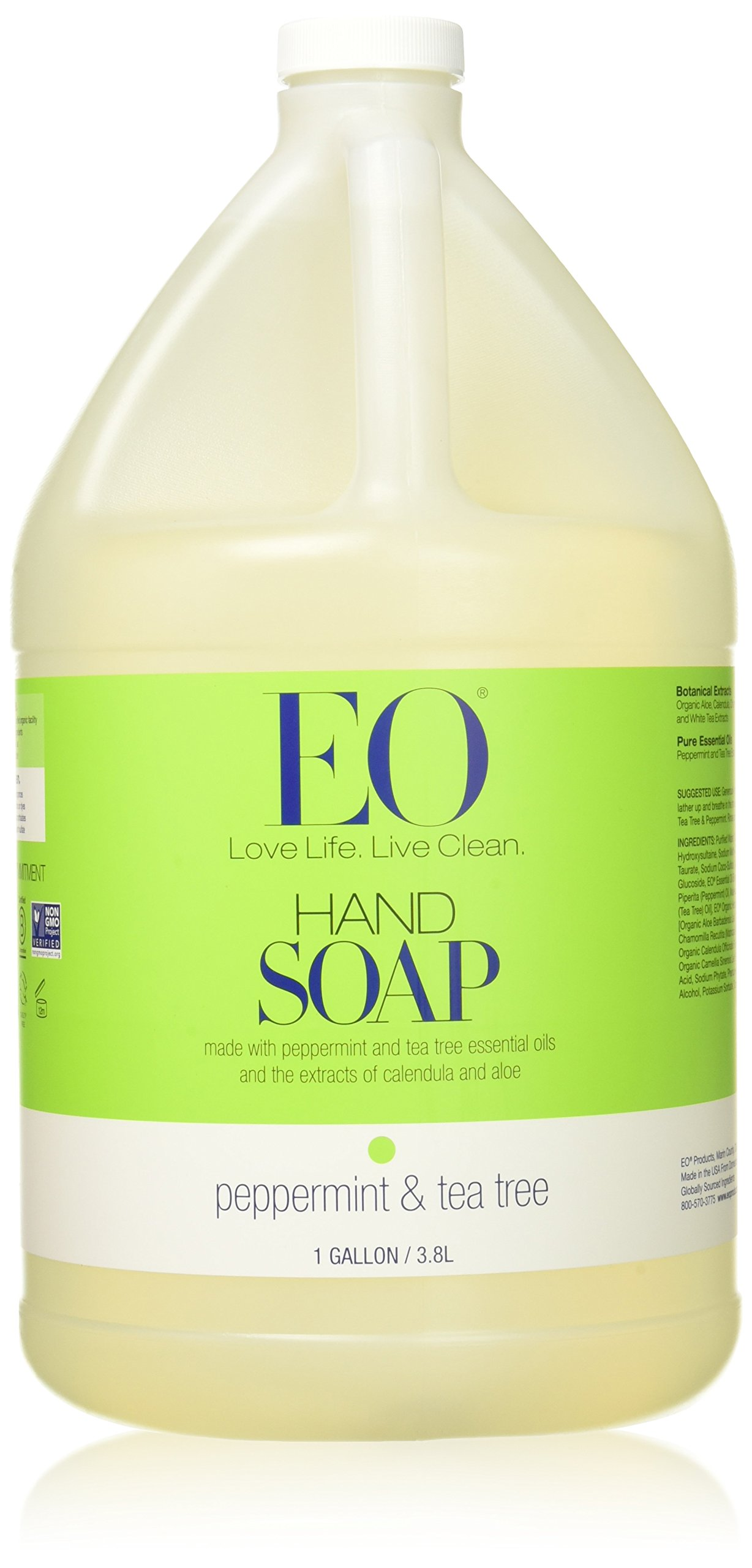 EO Botanical Liquid Hand Soap, Refill, Peppermint, 128 Fluid Ounce