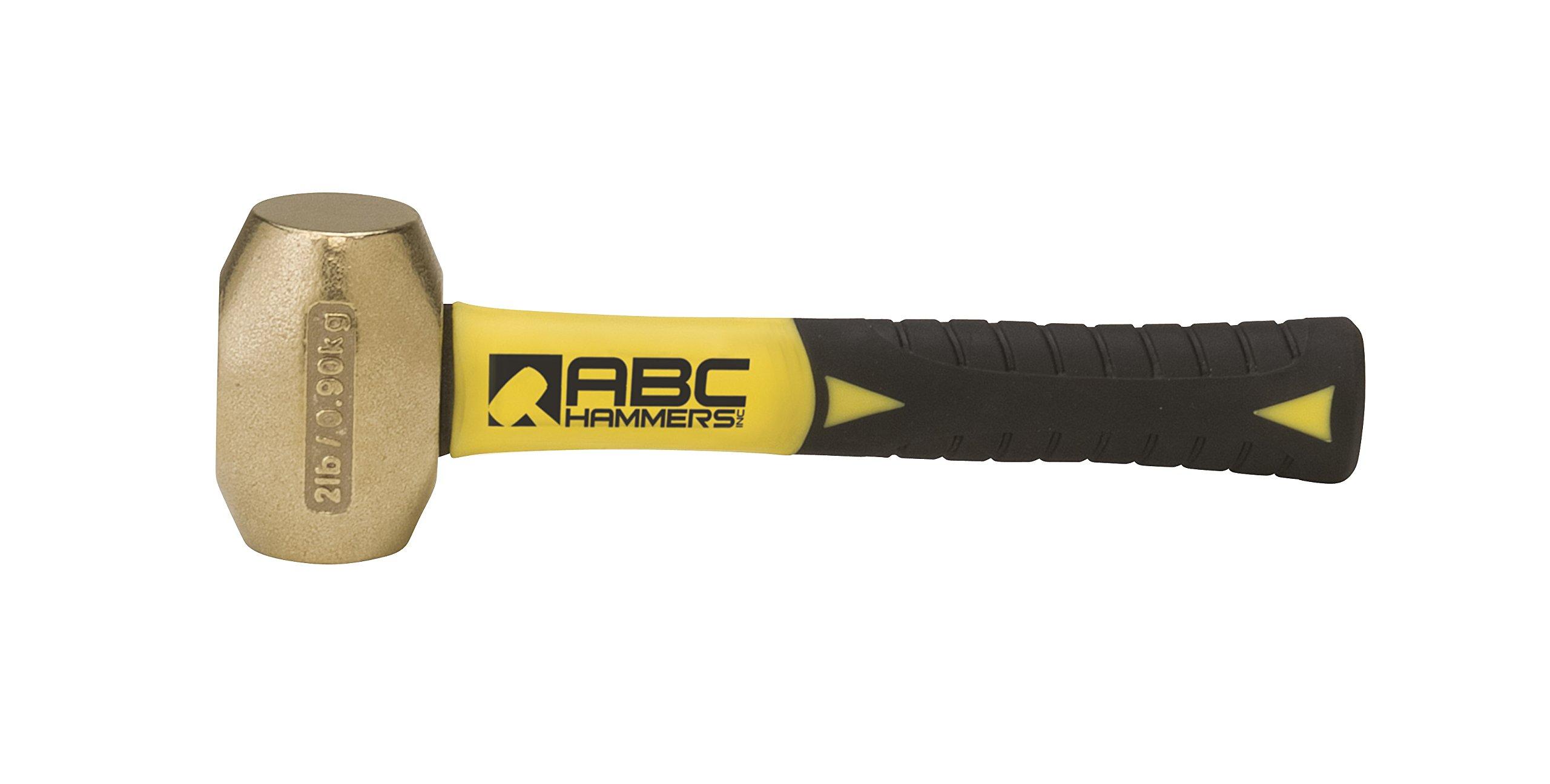ABC Hammers ABC2BFS Brass Hammer with 8-Inch Fiberglass Handle, 2-Pound