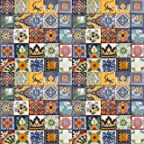 100 DESIGNED TILES MEXICAN CERAMIC ASSORTED 2X2 INCH TILE