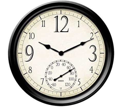 Springfield Decorative Outdoor Clock With Thermometer, 14 Inch