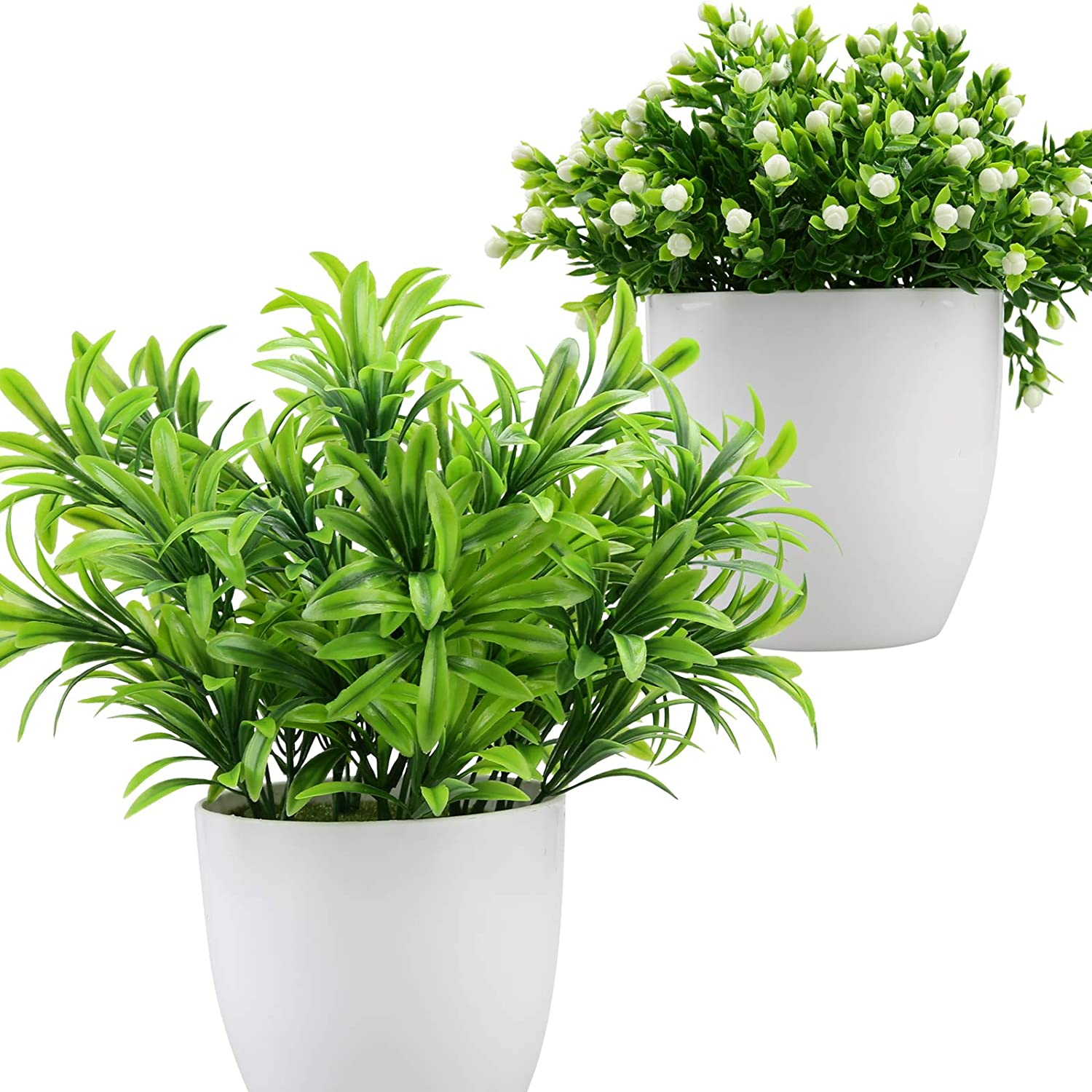 Summer flower 2 Pack Artificial Potted Plants with White Flowers ,Fake Eucalyptus Plant in pots,Faux Plants Greenery for Home Decor, Indoor, Office, Desk, Wedding Decoration