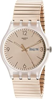 Swatch Mens Rostfrei SUOK707 Rose-Gold Stainless-Steel Swiss Quartz Fashion Watch