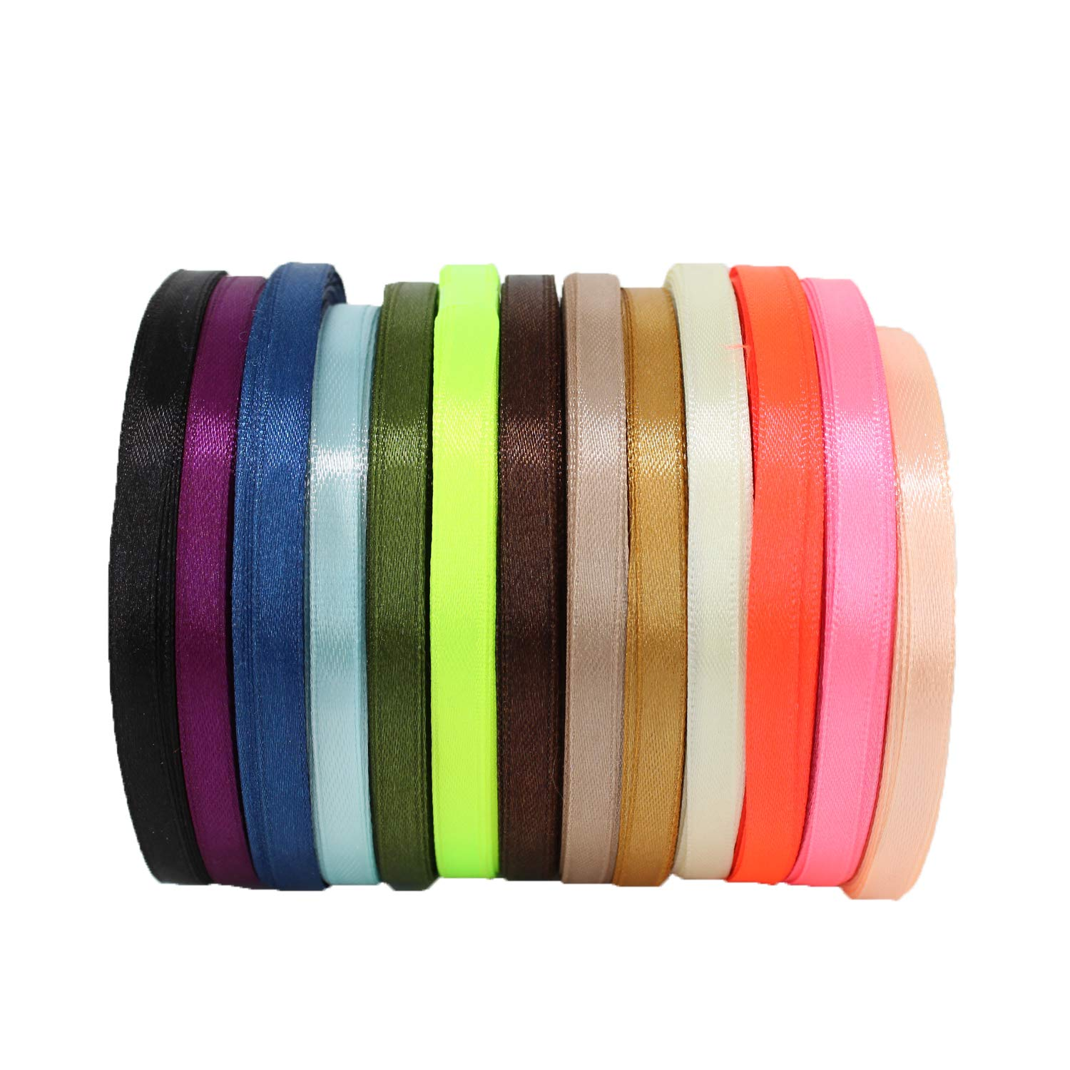 Bows Trimming Shop 6mm Satin Ribbon Rolls Birthday Cake and Home Decoration Option 1 Arts and Crafts 13 Assorted Colours Polyester Ribbons for Fabric Wedding VALUE PACK