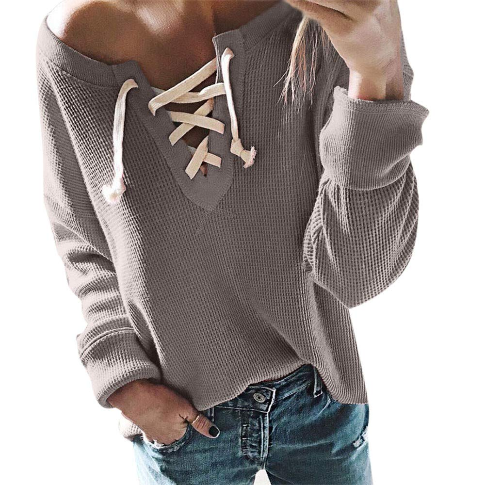 Rambling New Women Casual Lace Up Long Sleeve Crop Top Knit Loose Sports Pullover Tops