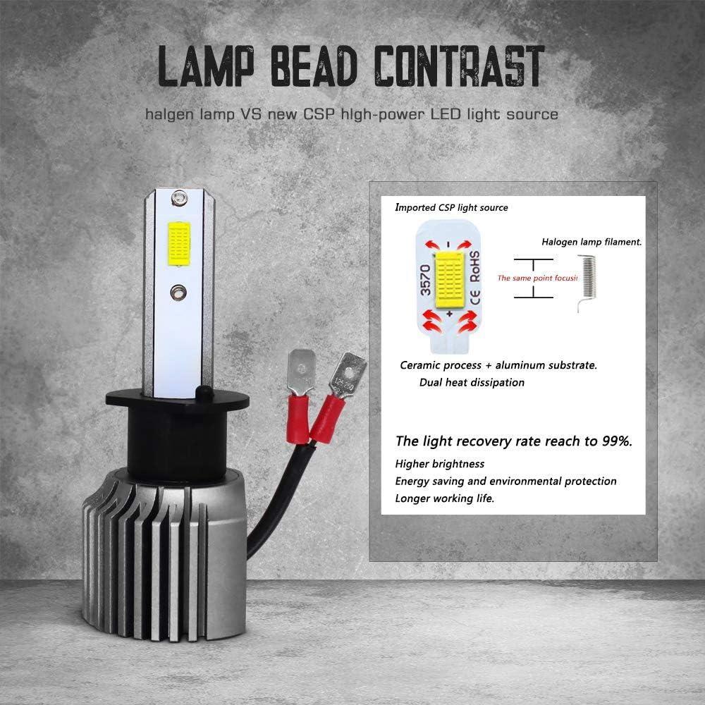 Extremely Bright 6000K Xenon White LED Fog Lamp MAXGTRS High Power 100W Three-Sided Beam 9006 LED Fog Light 3570 Chips HB4 Error Free CANBUS LED Fog Blubs