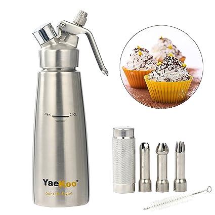 YaeKoo Dispensador de crema de 1 pinta/0,5 litros de acero inoxidable profesional