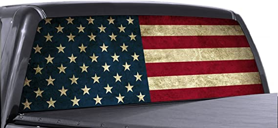 VuScapes - American Flag - Rear Window Truck Graphic - Decal SUV View Thru Vinyl