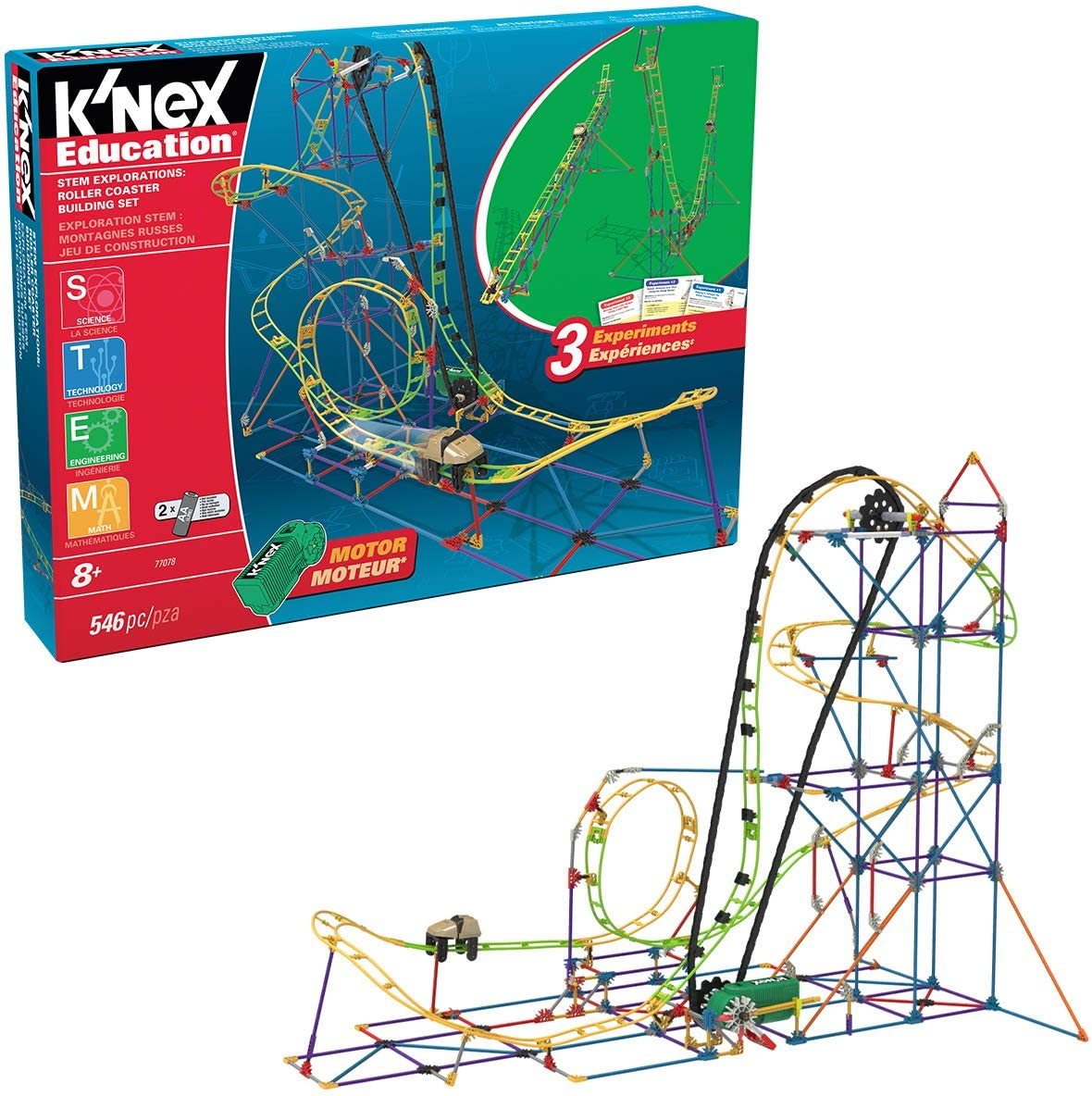 Amazon Com K Nex Education Stem Explorations Roller Coaster Building Set 546 Pieces Ages 8 Construction Education Toy Toys Games