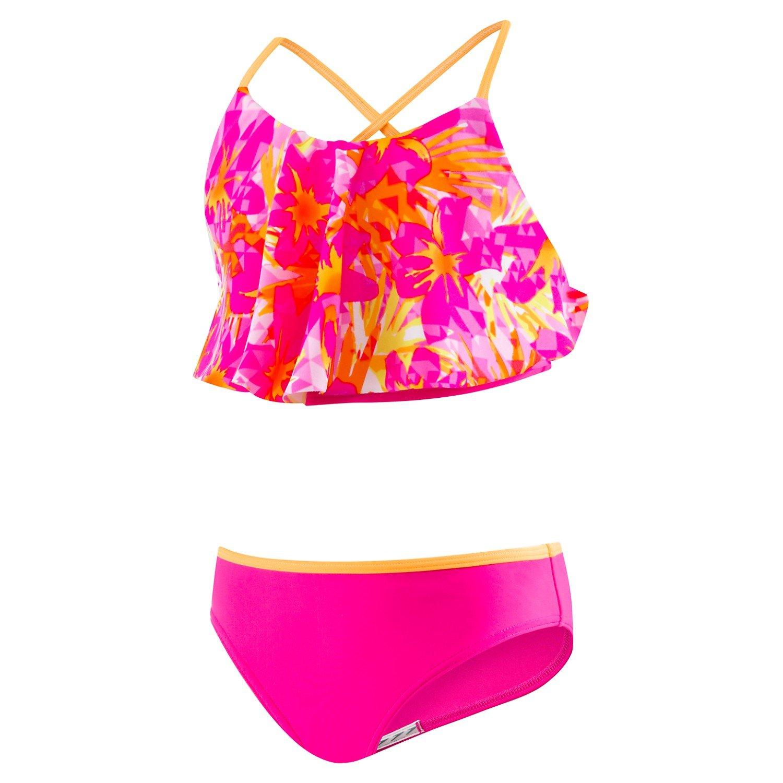 9c8751c2c3 Amazon.com: Speedo girls (youth) JUNGLE FLORAL RUFFLE Two Piece Swimsuit  771413K: Clothing
