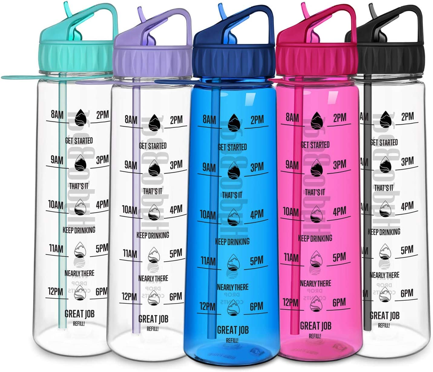 30 Ounce Motivational Water Bottle with Time Marker | Large BPA Free Tritan Sports Inspirational Water Bottle with Straw for Fitness, Hiking and Outdoors | Drink More Water Daily (Tiffany Blue)