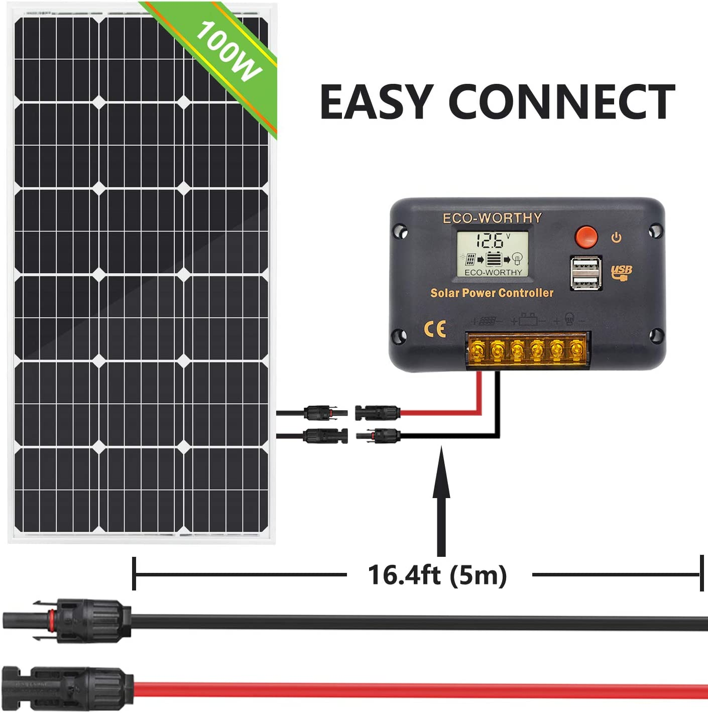 ECO-WORTHY 2 PCS 16.4 Ft MC4 PV Solar Panel Extensions Cable with Solar Male and Female Connector