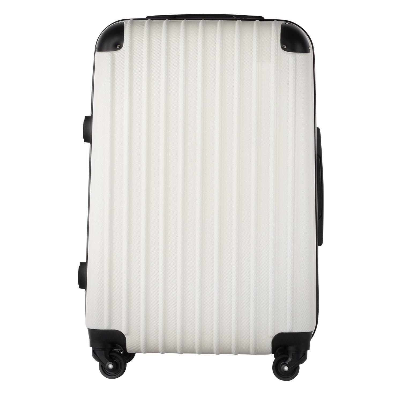【レセナ】RESENA スーツケース 超軽量 キャリーケース ファスナー ABS 静音キャスター おしゃれ かわいい 旅行 出張 B0719WJTC3 L サイズ_ダイヤルロック|ホワイト ホワイト L サイズ_ダイヤルロック
