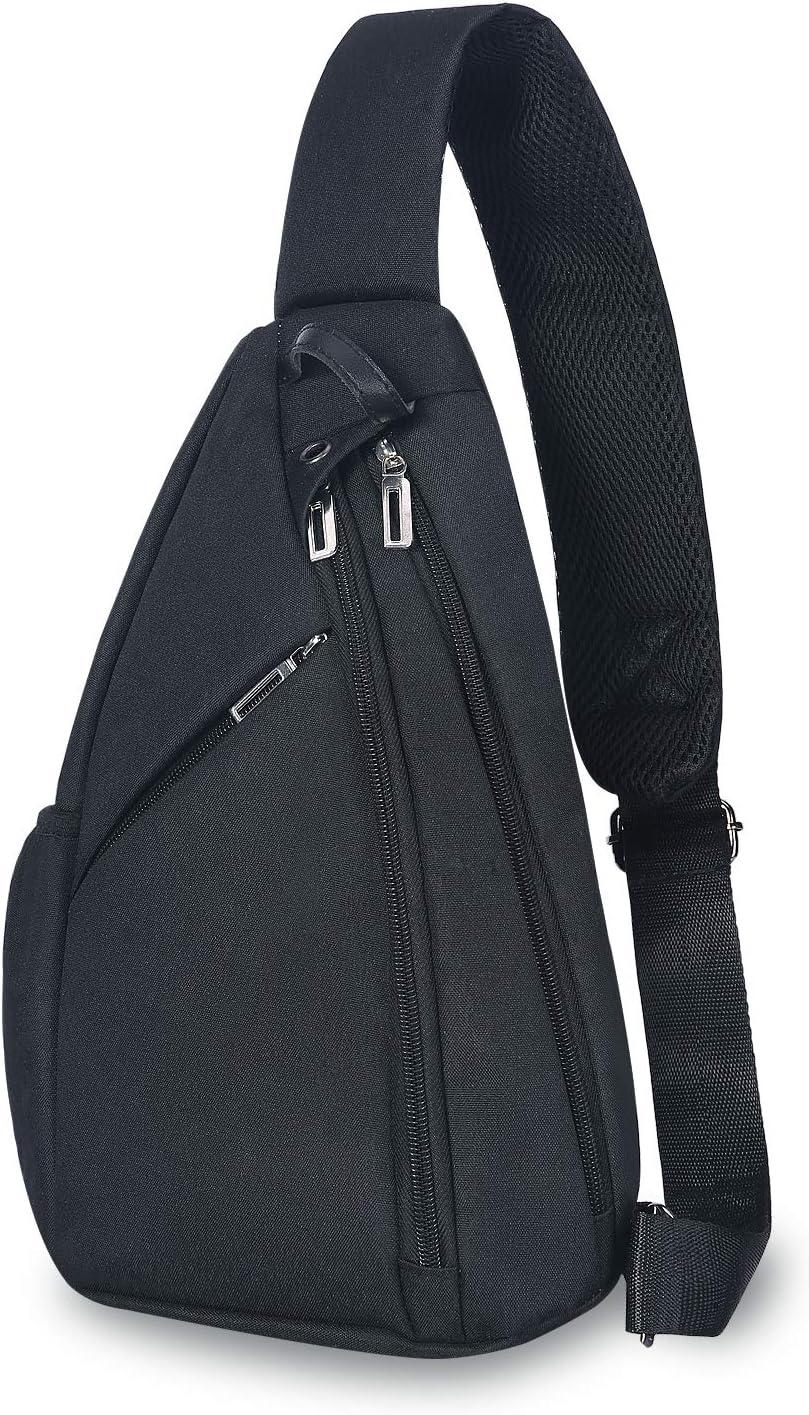 UNIQUEBELLA Sling Bag Crossbody Shoulder Chest Back Pack Anti Theft Sash Bags for Men Women Travel Outdoors (Black)