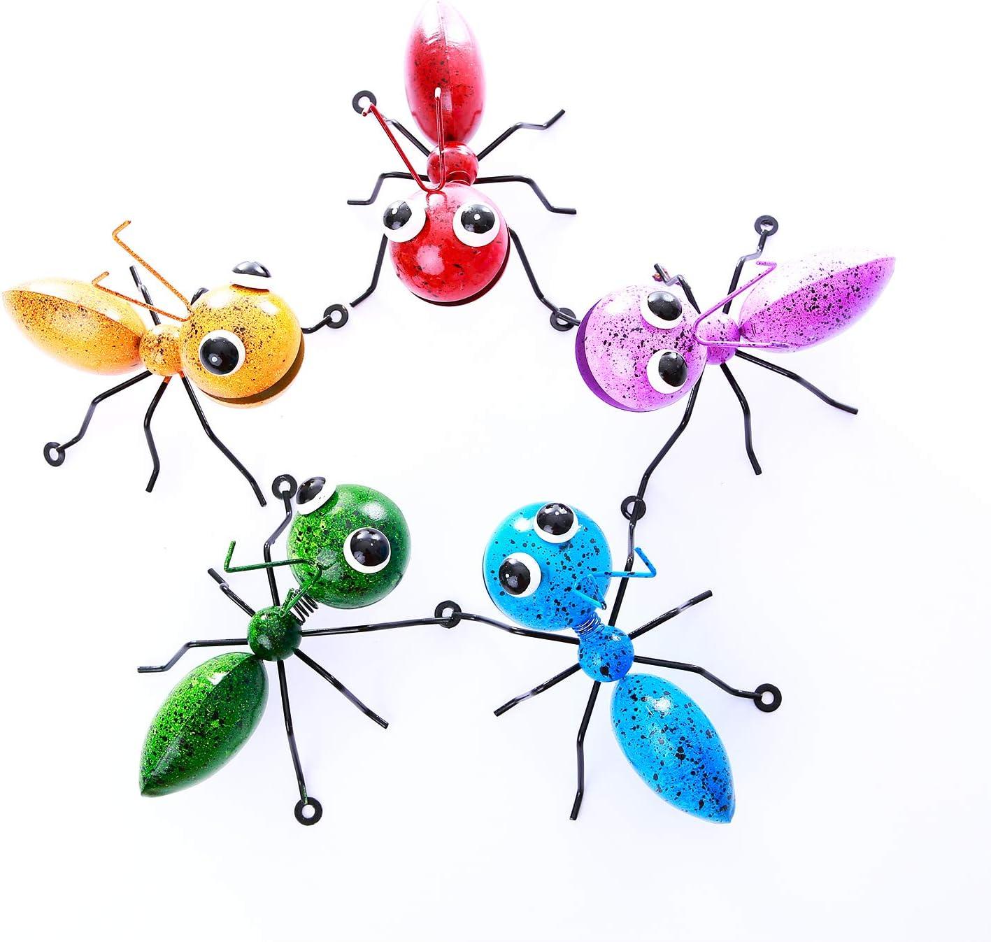 PUENUO 5pack Metal Ant Wall Decor Sculpture Art Hanging for Home Garden Indoor Lawn Yard Indoor Outdoor