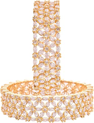 Ratnavali Jewels CZ Zirconia Gold Polish Red White Diamond Bollywood Indian Bangle Bracelet Jewelry Women