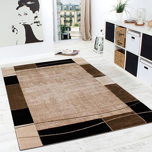 Designer Teppich Wohnzimmer Teppich Modern Bordüre In Braun Beige