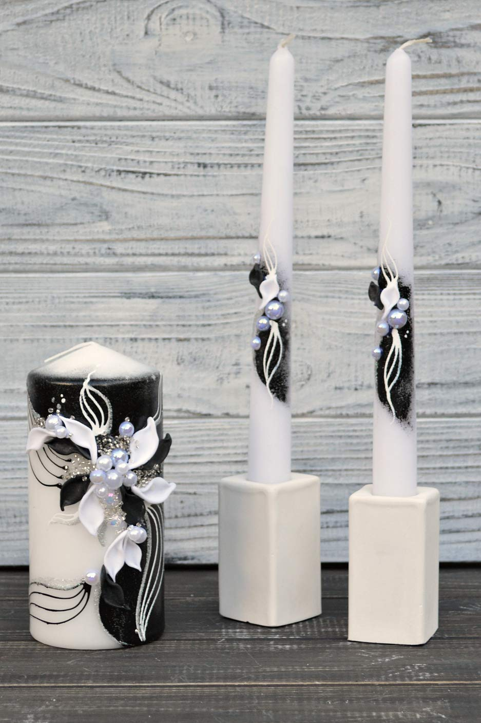 Magik Life Unity Candle Set for Wedding - Wedding décor & Wedding Accessories - Candle Sets - 6 Inch Pillar and 2 10 Inch Tapers - Best Unity Candle- Black by Magik Life
