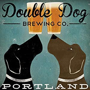 Buyartforless Double Dog Brewing Co Portland Black Labradors by Ryan Fowler 12x12 Beer Signs Dogs Labrador Animals Art Print Poster Vintage Advertising
