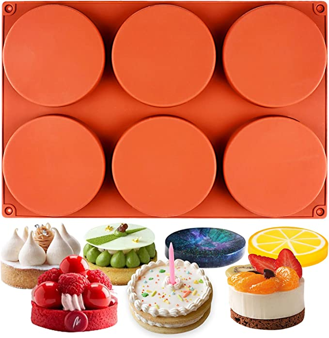 Palksky 2 Pack 6-Cavity Large Round Disc Silicone Mold//English Muffins Pan//Resin Coaster Mold Non-Stick Baking Molds for Hamburger Chocolate Cake Pie Custard Tart Whoopie Pie Egg Pan