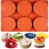 Funshowcase Round Disc Baking Silicone Mold 6-Cavity, 4inch, Circle Epoxy Resin Tray, Chocolate Cake Pie Custard Tart Muffin