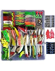 Smartfishing 1 Set 275Pcs Fishing Lure Tackle Kit Bionic Bass Trout Salmon Pike Fishing Lure Frog Minnow Popper Pencil Crank Soft Hard Bait Fishing Lure Metal Spoon Jig Lure with Fishing Tackle Box
