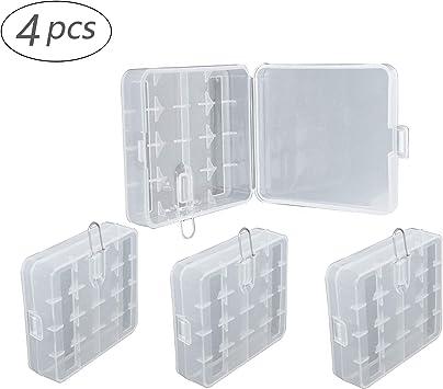4 piezas Cajas Transparentes Multifuncionales Para Pilas 18650/16340/CR123A caja de Almacenamiento de Soporte de Batería Caja de Almacenamiento Para Guardar la caja de Plástico de la Batería de litio: Amazon.es: Salud y