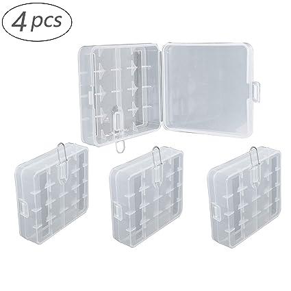 4 piezas Cajas Transparentes Multifuncionales Para Pilas 18650/16340/CR123A caja de Almacenamiento de Soporte de Batería Caja de Almacenamiento Para ...