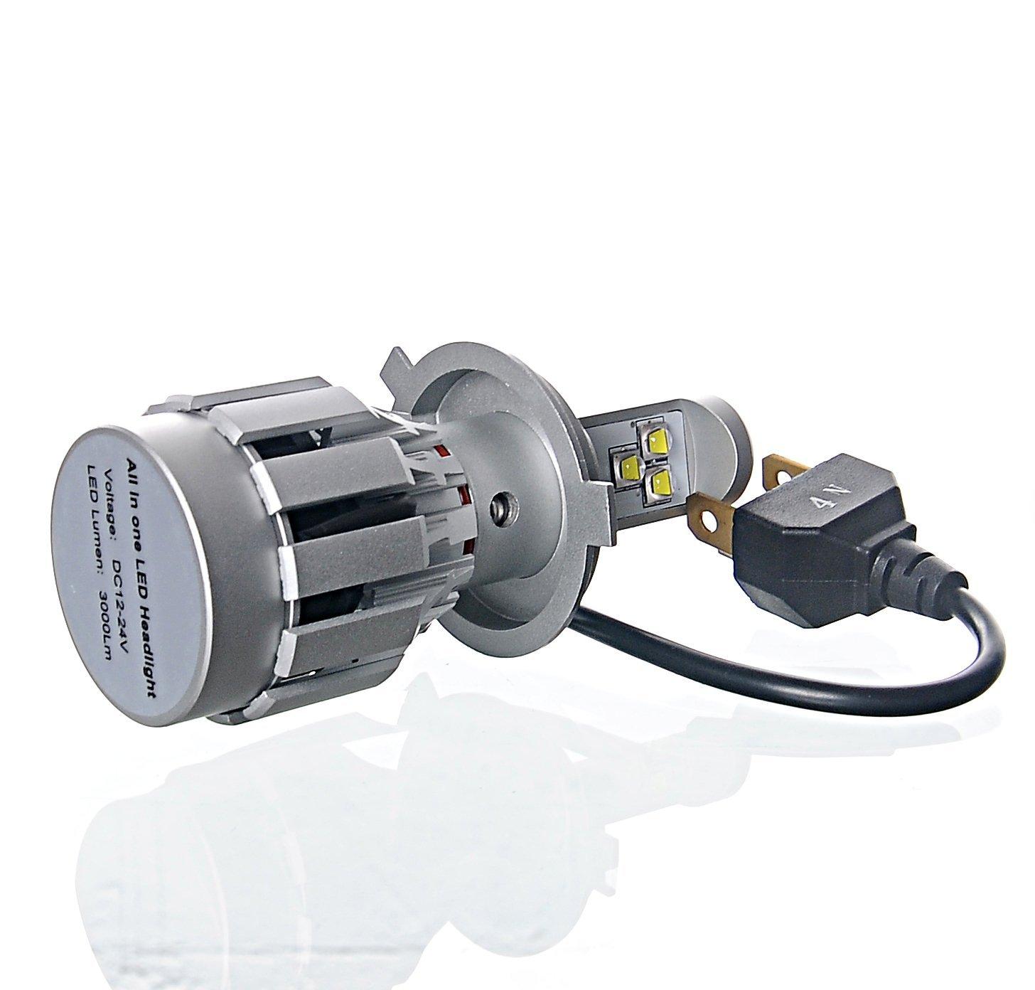 Amazon.com: Super brillante LED Faro H4 Kit de conversión, 80W 2000LM 8000K viruta del Cree Led faros, Todo en Uno Reemplaza halógenas y HID Bombillas, ...
