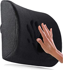 Ergogo Memory Foam Lumbar Support Pillow - Travel Back Cushion Portable with 3D Mesh Cover - Black Ergonomic Seat Pad, Back Office Soft Rest - Orthopedic Protector for Lower Brace Pain Relief Massage