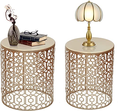 Decent Home End Tables Accent Coffee Table Indoor Outdoor Decorative Nesting Round Gold Nightstands,Set of 2 style4