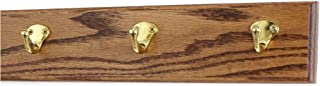 """product image for Oak Coat Rack with Solid Brass Single Style Hooks (Chestnut, 15"""" x  3.5"""" with 3 hooks)"""