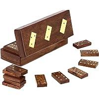 SKAVIJ Double 6 Professional Wooden Dominoes Set 28 Tiles Game Brown - 8 Inch