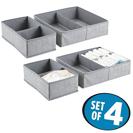 Buy MetroDecor mDesign Storage Box - Set of 4 - Four Large Fabric Organisers  in Two Sizes for the Nursery - Storage System for Various Accessories -  Grey ... 6f04f5a9d1d01