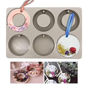 Moldes de silicona para hacer joyas artesanas de resina, con orificio Round and Ring: Amazon.es: Hogar