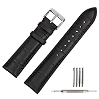 Leather Watch Strap 20mm Black Soft w/Watch Clasp Buckle Watch Band Bracelet Replacement 18mm 19mm 20mm 22mm