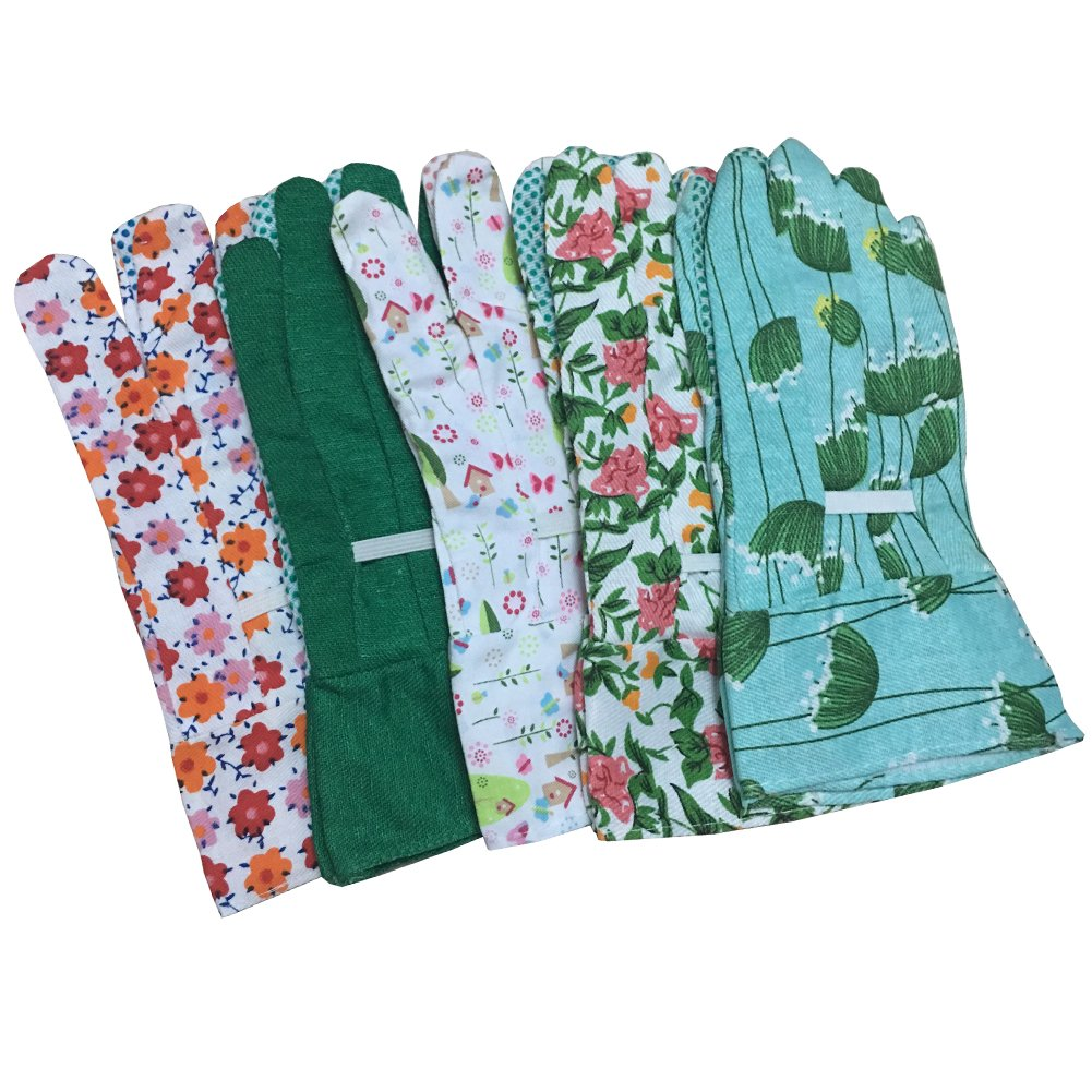 Kids Helper Women Garden Gloves - Colorful Women Unti-slip Work Gloves Set, Pack of 5