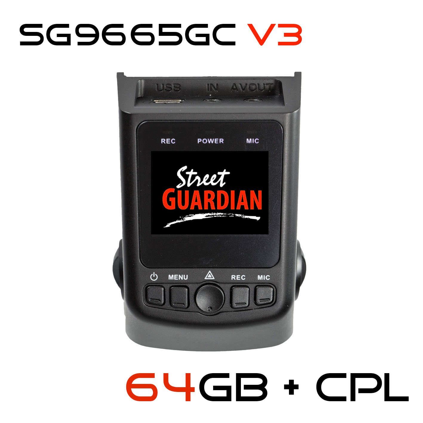 Street Guardian SG9665GC v3 2017 edition + 64GB microSD Card + CPL + USB/OTG Android Card Reader + GPS, Supercapacitor Sony Exmor IMX322 WDR CMOS Sensor DashCam 1080P 30FPS (Best Of - DashCamTalk) by Street Guardian