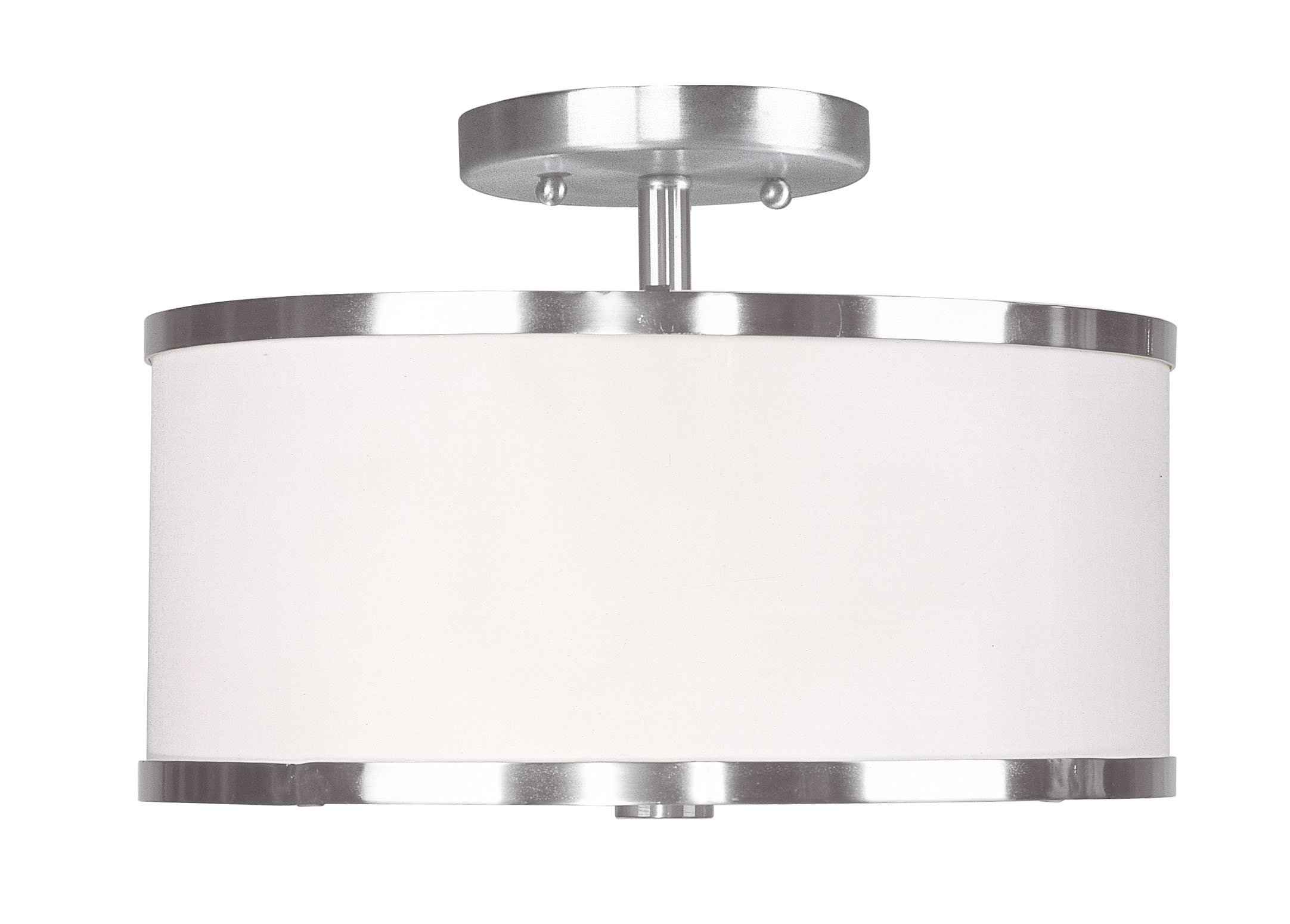 Livex Lighting 6366-91 Park Ridge 2 Light Brushed Nickel Semi Flush Mount with White Pleated Shade