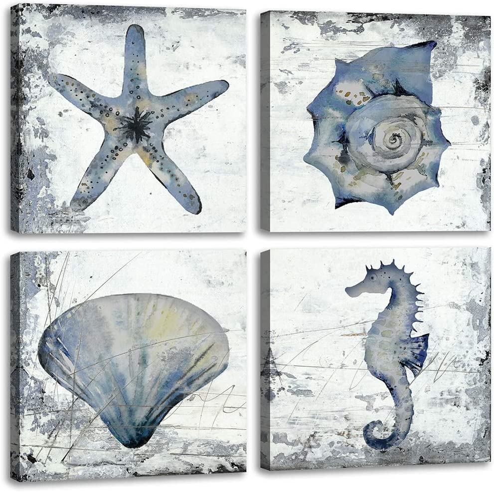 Bathroom Wall Decor Farmhouse Rustic Dark Blue Sea Creatures Shell Starfish Conch Seahorse Pictures Poster Watercolour on Black and White Abstract Wall Art Kitchen Theme Sets Nautical Decorations