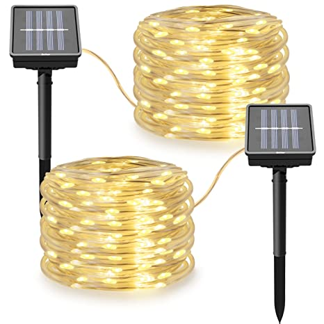 Amazon solar powered string lights 8 modes twinkling rope solar powered string lights8 modes twinkling rope lights 100 led 33 ft solar lights aloadofball Images